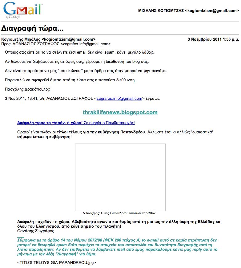 Αίτηση διαγραφής από ανεπιθύμητα μηνύματα Αθ.Ζωγράφου