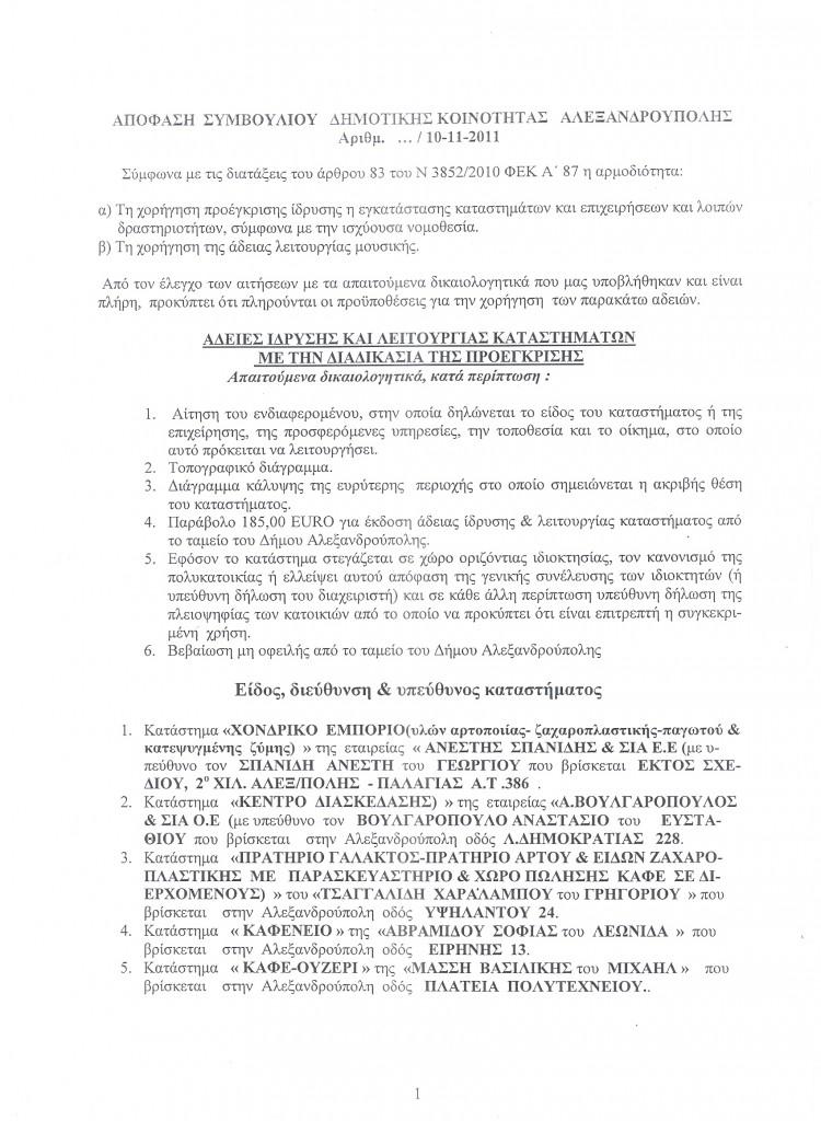 11η Δημοτική Κοινότητα 4/11/2011 – Θέμα ΗΔ Νο1 – Προέγκριση αδειών λειτουργίας καταστημάτων