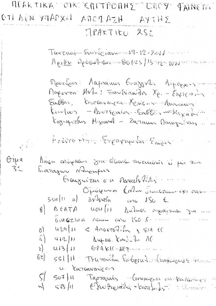 Αντίγραφα επίσημων πρακτικών Οικονομικής Επιτροπής της 17/01/2012 (σελ.1/2)