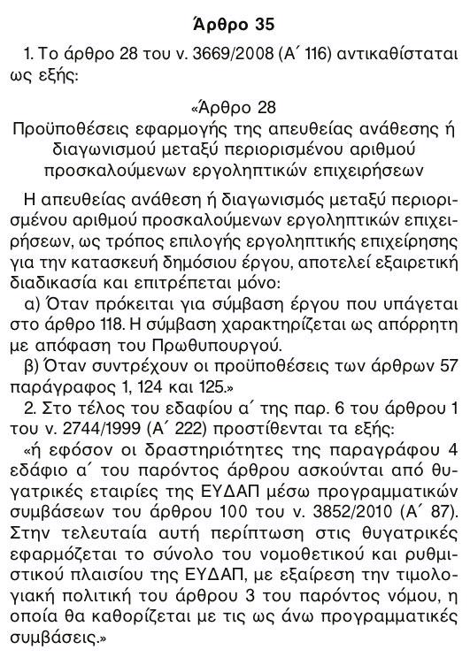 'Άρθρο 35 του Ν. 4053/2012, ΦΕΚ 44/7.3.2012/τ. Α'