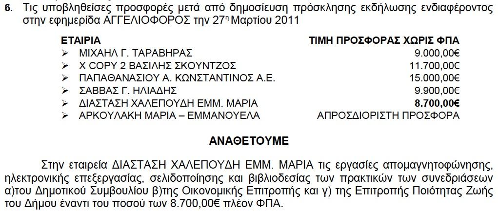 Ανάθεση απομαγνητοφώνησης πρακτικών Δήμου Νεαπόλεως-Συκών (ΑΔΑ: 4ΑΓΨΩΚΙ-Σ της 5/4/2011)