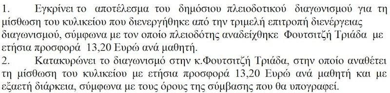 Κατοκύρωση διαγωνισμού κυλικείου 10ου ΔΣ Αλεξ/πολης (11/4/2012)