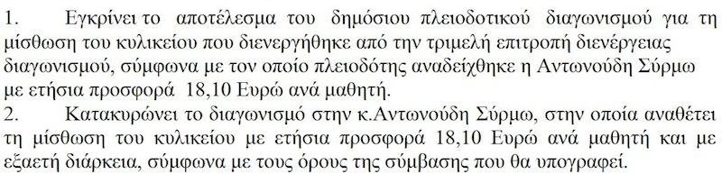 Κατοκύρωση διαγωνισμού κυλικείου 9ου ΔΣ Αλεξ/πολης (11/4/2012)