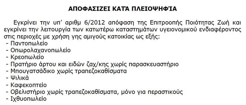 Απόφαση 104/2012 του Δημοτικού Συμβουλίου του Δήμου Αλεξ/πολης σχετικά με τις επιτρεπόμενες εμπορικές χρήσεις σε περιοχές αμιγούς κατοικίας