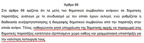 Αιτιολογική Έκθεση Νόμου Καλλικράτη (Ν.3852/2010) - Άρθρο 66 - Δημοτικές Παρατάξεις