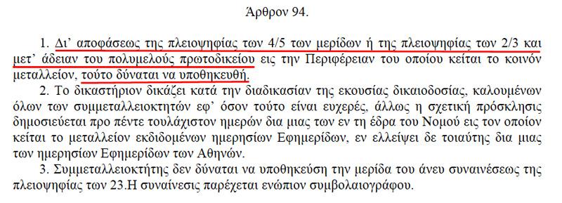 Άρθρο 94, Ν.Δ.210/1973 Περί Μεταλλευτικού Κώδικος
