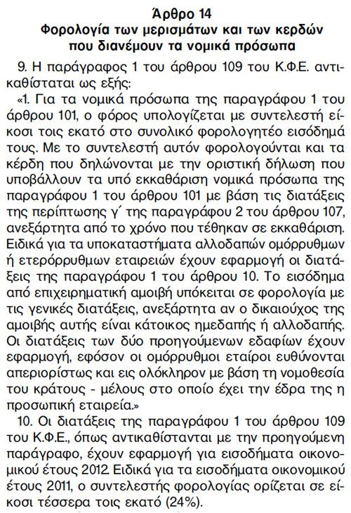 Φορολογία ΑΕ - Νόμος 3943/2011, Άρθρο 14, Παράγραφοι 9 &10