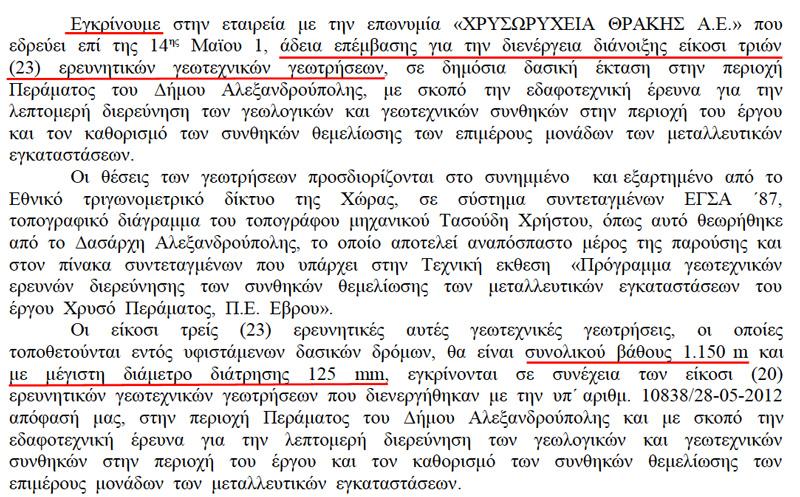 'Αδεια διενέργειας 23 ερευνητικών γεωτεχνικών γεωτρήσεων (10/09/2012 ΑΔΑ: Β4Θ6ΟΡ1Υ)