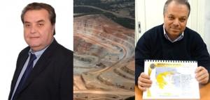 Δρ. Ηλίας Ιωαννάκης, δήμαρχος Μαρωνείας-Σαπών (αριστερά) - Κρανίου τόπος στο Kisladag Τουρκίας (μέση) - Γιώργος Μαρκόπουλος, Γενικός Διευθυντής Χρυσωρυχεία Θράκης ΑΕ (δεξιά)