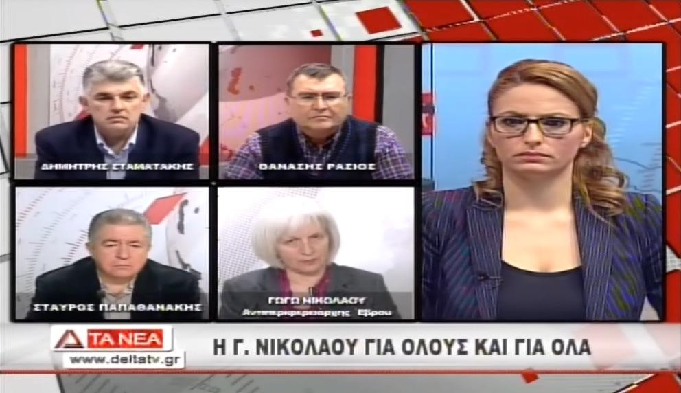 Η κ. Γεωργία Νικολάου στο κεντρικό δελτίο ειδήσεων της Δέλτα Τηλεόρασης (11/2/2014)