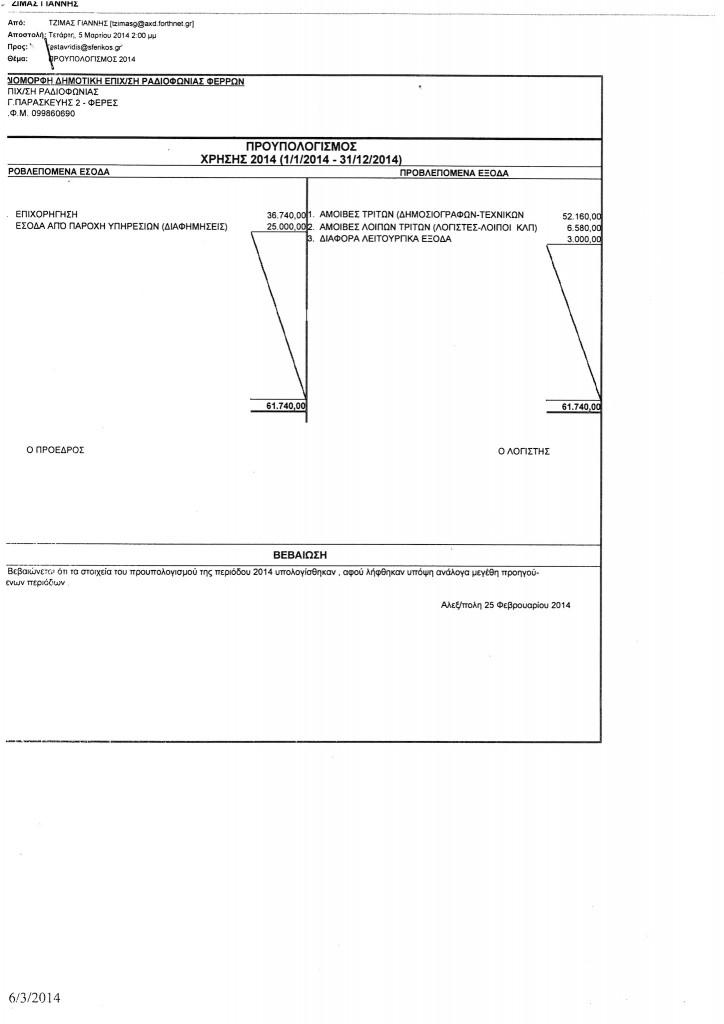 Δημοτική Επιχείρηση Ραδιοφωνίας Φερών - Προϋπολογισμός Χρήσης 2014