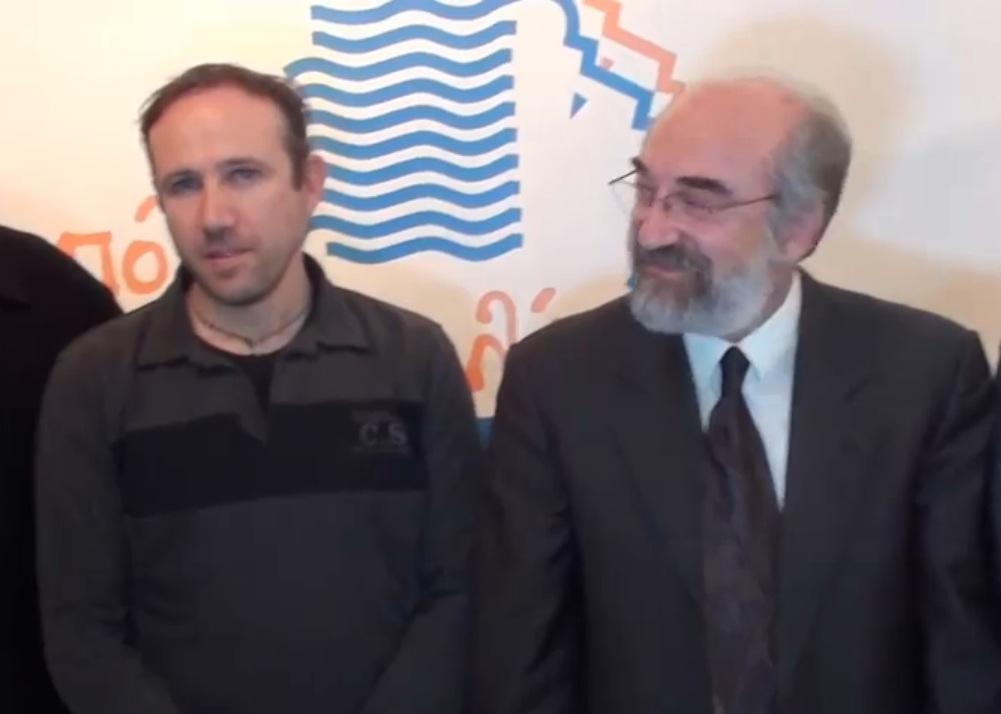 Κριτού Κριτής και Βαγγέλης Λαμπάκης, την Μ. Τετάρτη 16/4/2014, στην παρουσίαση της υποψηφιότητάς του
