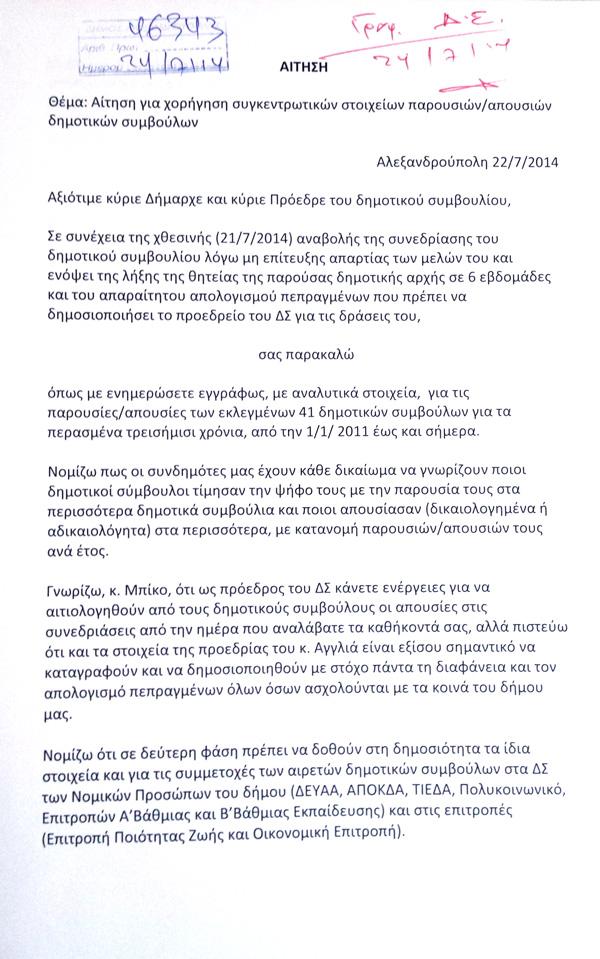 Αίτηση για χορήγηση συγκεντρωτικών στοιχείων παρουσιών/απουσιών δημοτικών συμβούλων (Αρ. Πρωτ. 46343/24.07.2014)