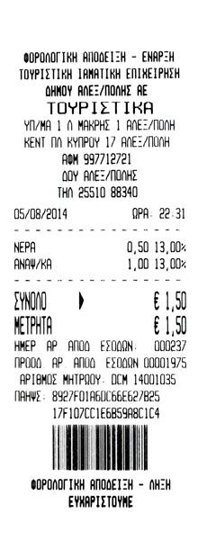 Γιορτή Κρασιού 2014 - Απόδειξη Αγοράς Αναψυκτικών