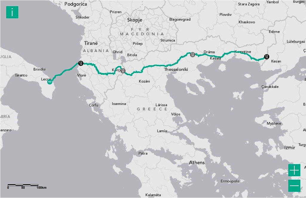 Χάρτης Διέλευσης Διαδριατικού Αγωγού Φυσικού Αερίου TAP από την Ελλάδα