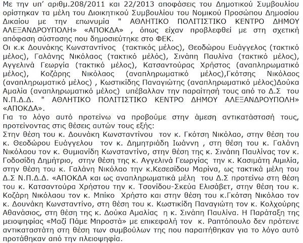 Αντικατάσταση μελών Δ.Σ. Α.ΠΟ.Κ.Δ.Α. από το δημοτικό συμβούλιο Αλεξανδρούπολης (την 17/1/2013 - ΑΔΑ: ΒΕΥΦΩΨΟ-ΚΒΨ)
