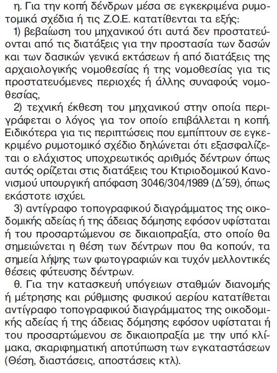 """Νομοθεσία για κοπή δέντρων μέσα σε εγκεκριμένα ρυμοτομικά σχέδια ή στις Ζ.Ο.Ε. - Άρθρο 2, παράγραφος 1η στην απόφαση 55175 του Αναπλ. Υπουργού ΥΠΕΧΩΔΕ, κ. Σταύρου Καλαφάτη (δημοσιευμένη στο Β' τεύχος ΦΕΚ με Αρ. Φύλλου 2605 της 15/10/2013 και τίτλο """"Διαδικασία Έγκρισης Εργασιών Μικρής Κλίμακας"""")"""
