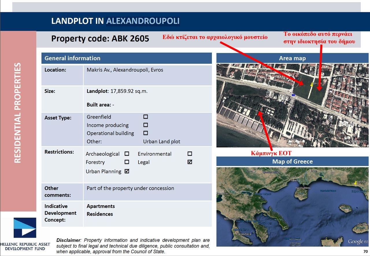 Φυλλάδιο ΤΑΙΠΕΔ σελ. 70 - Οικόπεδο στην Αλεξανδρούπολη έκτασης 17.859,92 μ2 (στο δυτικό κομμάτι κτίζεται σήμερα το Αρχαιολογικό Μουσείο)