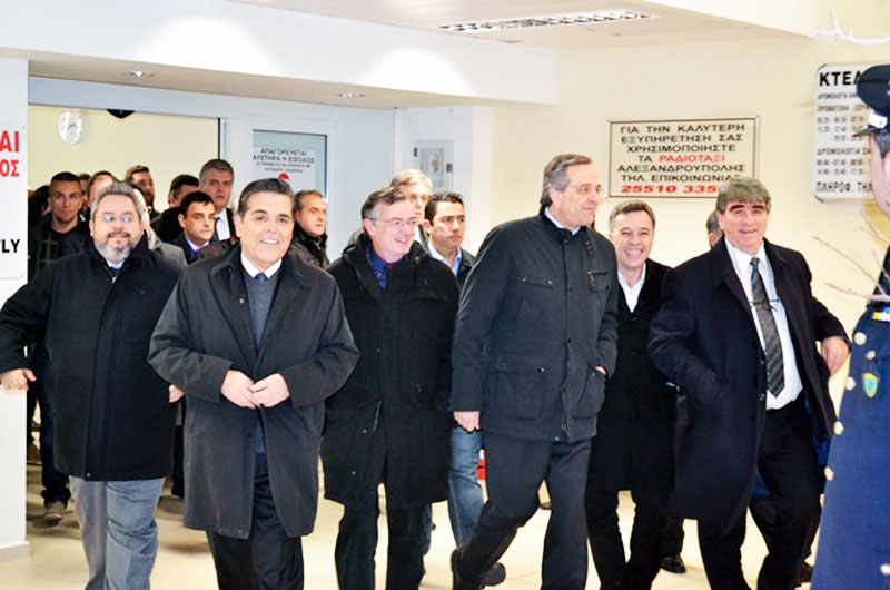 Υποδοχή πρωθυπουργού Αντώνη Σαμαρά στην Αλεξανδρούπολη (Δευτέρα 5/1/2015 το πρωϊ)