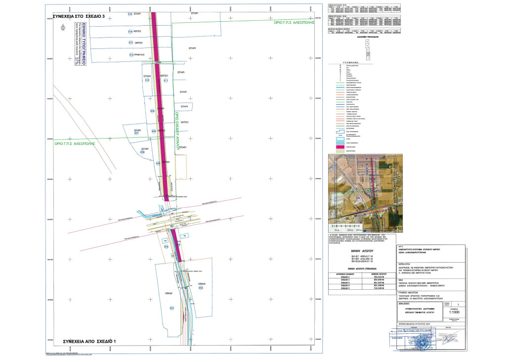 Κτηματολογικό Διάγραμμα - Σχέδιο 2 - Χερσαίου Τμήματος Αγωγού ΑΣΦΑ Αλεξανδρούπολης (από ΦΕΚ Β' 3528/30.12.2014)