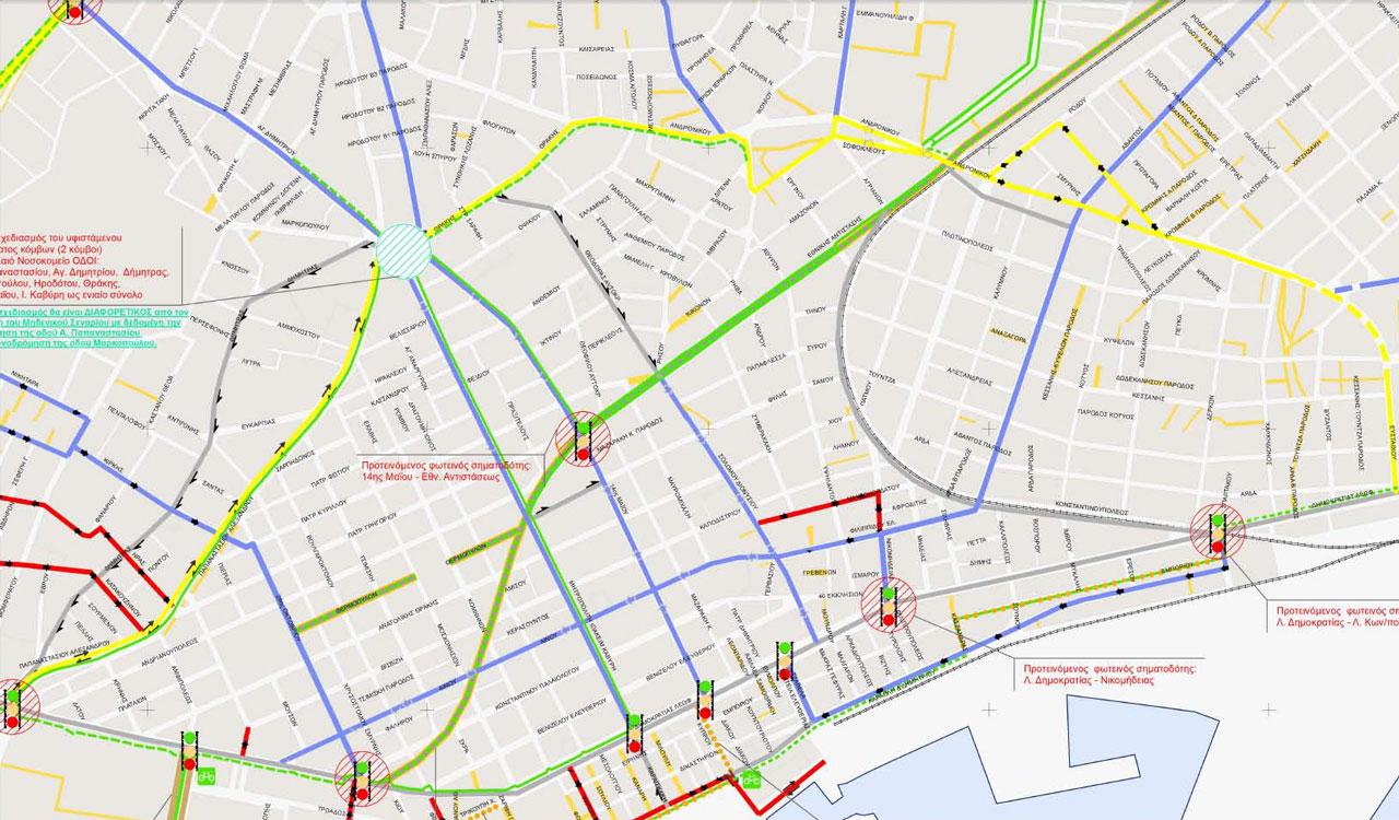 Απόσπασμα Χάρτη Σεναρίου 3 - Δυναμικό Α - Α' Φάσης Κυκλοφοριακής Μελέτης Αλεξανδρούπολης