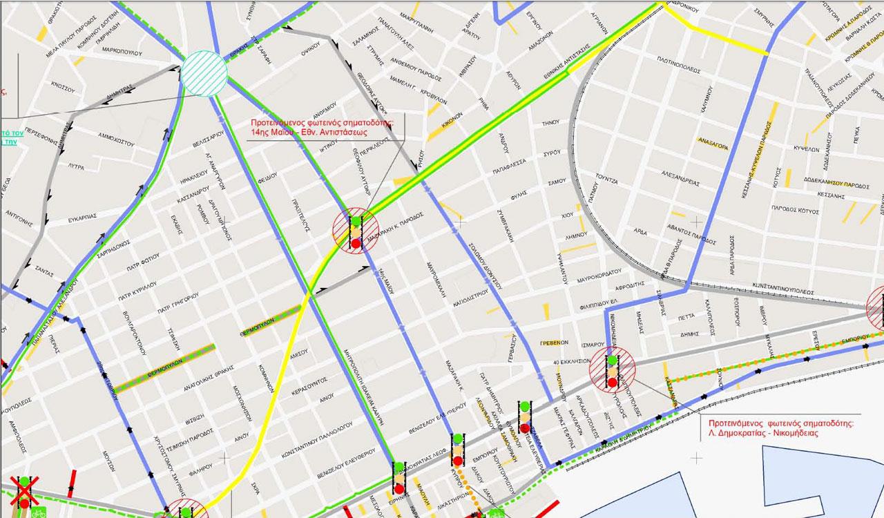 Απόσπασμα Χάρτη Σεναρίου 3 - Δυναμικό Β - Α' Φάσης Κυκλοφοριακής Μελέτης Αλεξανδρούπολης