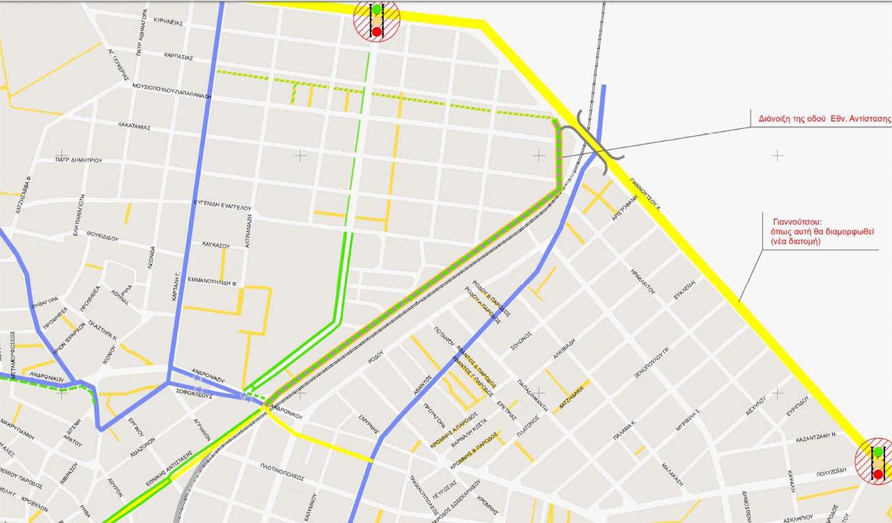 Απόσπασμα Χάρτη Σεναρίου 4 - Ανατρεπτικό - Α' Φάσης Κυκλοφοριακής Μελέτης Αλεξανδρούπολης