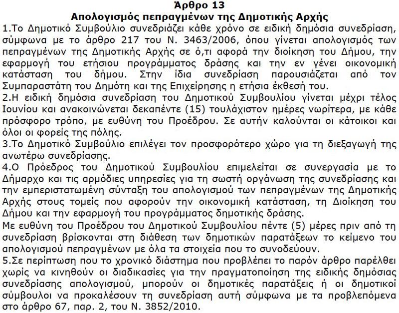 Απολογισμός Πεπραγμένων Δημοτικής Αρχής (Άρθρο 13, Κανονισμού ΔΣ Δήμου Αλεξανδρούπολης,  ΑΔΑ: Β4ΜΦΩΨΟ-ΨΧΓ)
