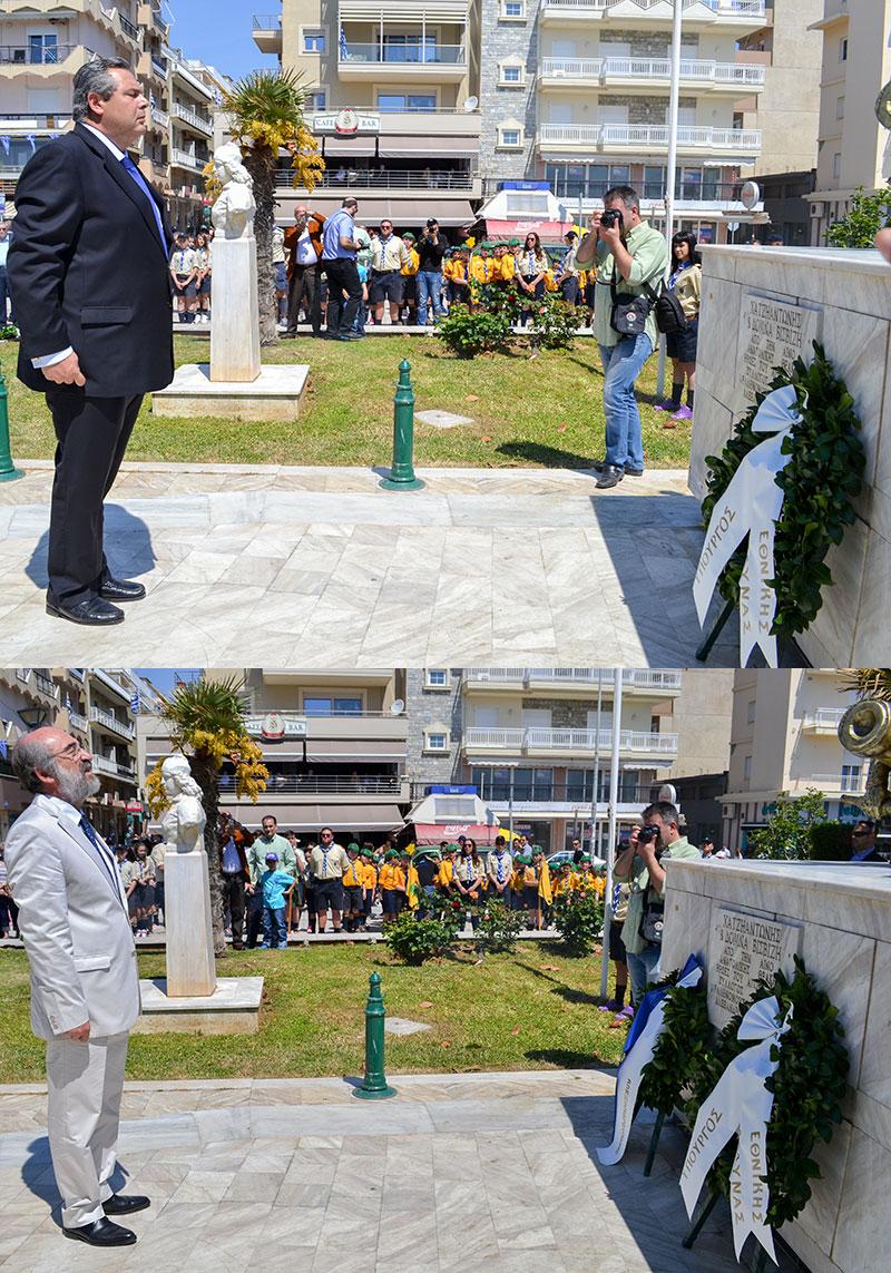Ο Υπουργός Εθνικής Άμυνας κ. Παναγιώτης Καμμένος και ο Δήμαρχος Αλεξανδρούπολης κ. Ευάγγελος Λαμπάκης καταθέτουν στεφάνια στο μνημείο των Βισβίζηδων στις 14/5/2015 (πηγή φωτό: radiomax.gr)