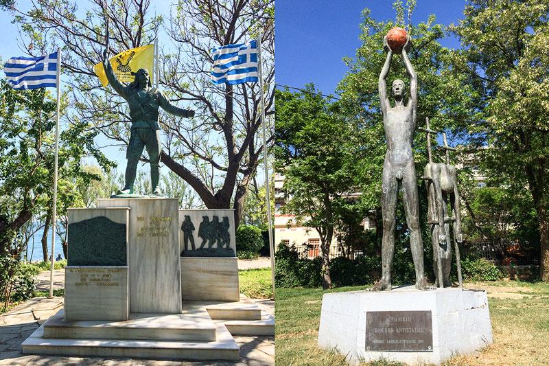 """Υποψήφια ορειχάλκινα αγάλματα που κινδυνεύουν με... """"γυάλισμα"""" από τη δημοτική αρχή [Αριστερά: Μνημείο στον Ποντιακό Ελληνισμό του κ. Κικώτη Γιώργου (2008) - δεξιά: Μνημείο Εθνικής Αντίστασης του κ. Ριζόπουλου Γιώργου (1992)]"""