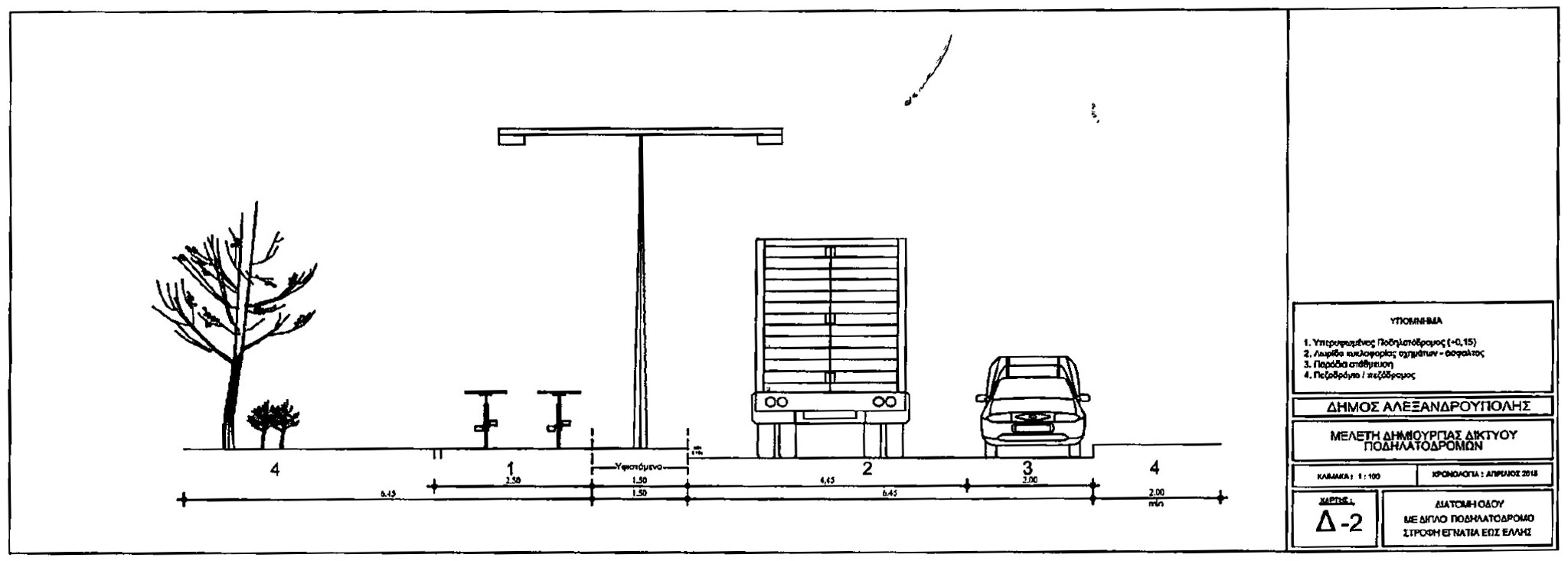 Διατομή Παραλιακής Οδού με διπλό ποδηλατόδρομο στη νότια πλευρά και μονή κατεύθυνση κυκλοφορίας στο βόρειο τμήμα της οδού από στροφή Εγνατία μέχρι την οδό Έλλης στην Αργώ (Θέμα 18 ΔΣ της 27/7/2015 - Επέκταση Ποδηλατοδρόμου - από την εισήγηση της υπηρεσίας - <strong>σύμφωνα με το υπόμνημα, το φορτηγό κυκλοφορεί στο μοναδικό ρεύμα κυκλοφορίας και το όχημα είναι σταθμευμένο</strong>)