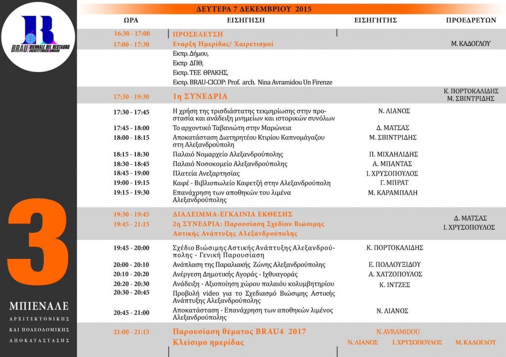 Πρόγραμμα Συνεδριών Ημερίδας BRAU3 (7/12/2015 16:30 στο Επιμελητήριο Έβρου στην Αλεξανδρούπολη)