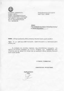 Γ.Γ. Δήμου κ. Ξανθόπουλος Χρυσόστομος σε κ. Δημοσθένη Δούκα σχετικά με αίτημα χορήγησης άδειας άσκησης ιδιωτικού έργου χωρίς αμοιβή (22/10/2015)
