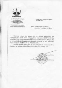 Άδεια άσκησης ιδιωτικής εργασίας χωρίς αμοιβή σε Άλφα TV και Pontos TV από το δήμαρχο κ. Ευάγγελο Λαμπάκη στον κ. Δημοσθένη Δούκα (29/12/2015)