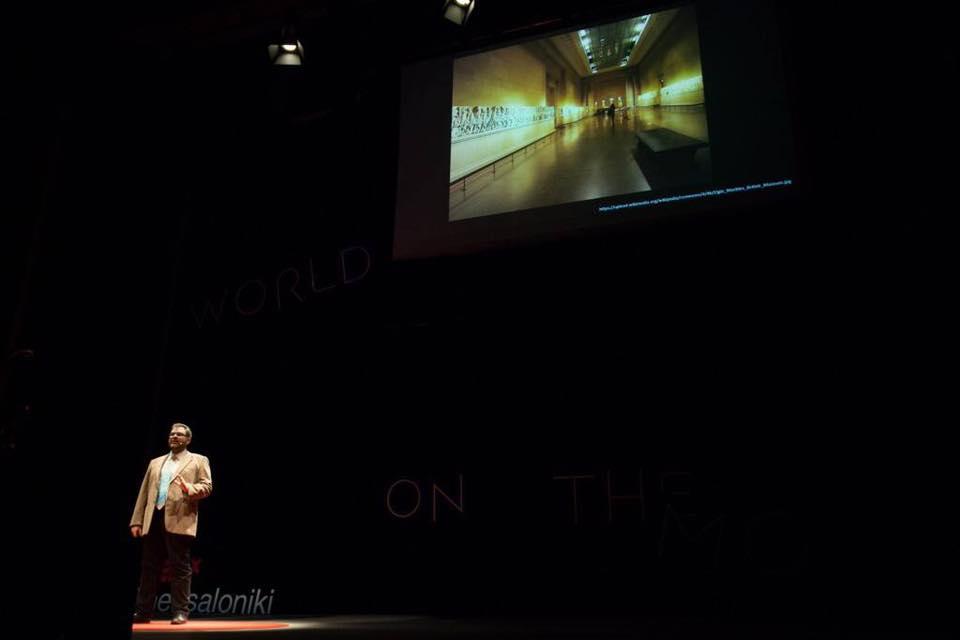 Ο κ. Βασίλης Σωτηρόπουλος παρουσιάζοντας την προσφυγή στο Ευρωπαϊκό Δικαστήριο για τα Γλυπτά του Παρθενώνα την περασμένη εβδομάδα στο #TedXThess (c) TEDxThessaloniki 2016/ Nick Pappas, Vasilis Draganis, Maria Mintsidou