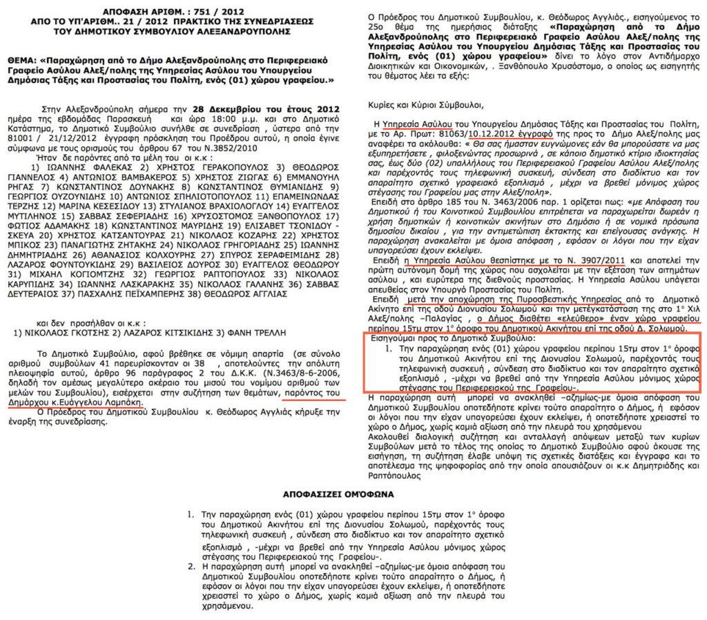 Θέμα 25ο ΔΣ 28/12/2012 - Παραχώρηση από το Δήμο Αλεξανδρούπολης στο Περιφερειακό Γραφείο Ασύλου Αλεξ/πολης της Υπηρεσίας Ασύλου ... ενός χώρου γραφείου (ΔΙΑΎΓΕΙΑ ΑΔΑ ΒΕΦ2ΩΨΟ-Π9Υ)